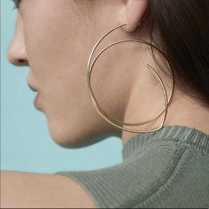 Zara Assymetrical Gold Hoop Earrings